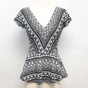 anthropologie   deletta geometric peplum blouse S